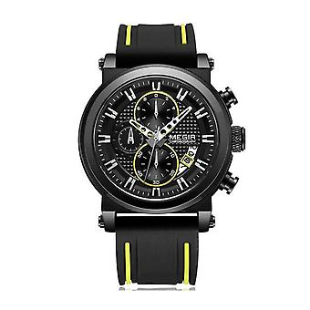 Megir Mens Round Quartz Analogue Luxury Watch Black Yellow Watches Rubber Strap UK