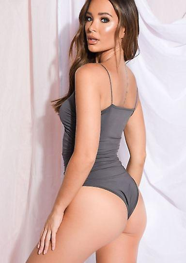 Slinky Sweetheart Neck Ruched Bodysuit Gris