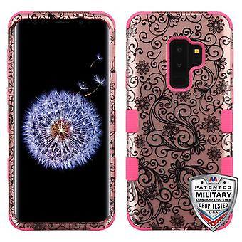 MYBAT Black Four-Leaf Clover (2D Rose Gold)/Electric roze TUFF Hybrid Phone Protector cover voor Galaxy S9 plus