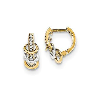 14k Yellow Gold Polished CZ Cubic Zirconia Simulated Diamond for boys or girls Hinged Hoop Earrings