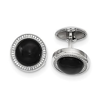 Stainless Steel Polished With Cubic Zirconia and Simulated Onyx Circle Cuff Links Jewelry Gifts for Men