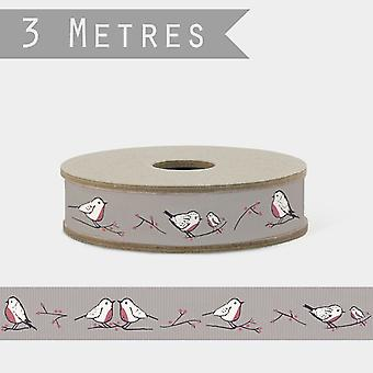 East of India Grey Christmas Craft Ribbon 3M Robins & Rosehips