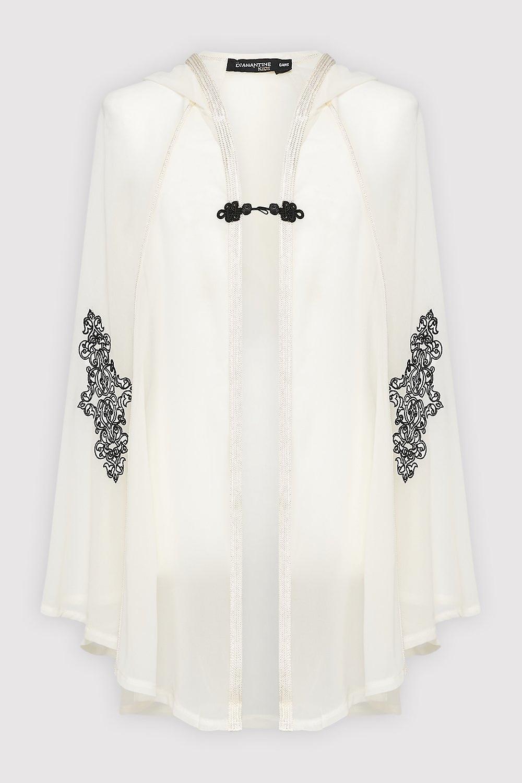 Razal hooded girl's embroidered lightweight hooded single fasten cape in white (2-12yrs)