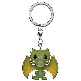 Game of Thrones Pop! Key pendant Rhaegal multicolor, made of cube & metal, by FUNKO.