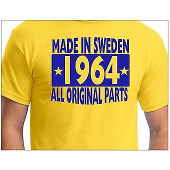 Camiseta amarela feita na Suécia 1964 Todas as peças originais