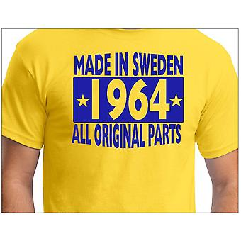 Gele T-shirt gemaakt in Zweden 1964 alle originele onderdelen
