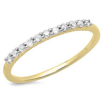 Dazzlingrock Collection 0,18 Carat (CTW) 14K rund hvid diamant stabelbar jubilæum bryllups band, gult guld