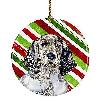 Setter inglés Candy Cane vacaciones Navidad adorno cerámica LH9232