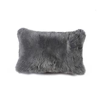 "12"" x 20"" x 5"" Gray Sheepskin  Pillow"