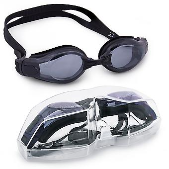 Clear Swimming Goggles with Case, Black