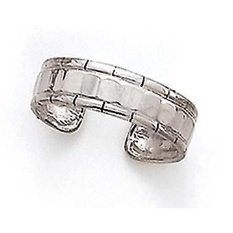 14k White Gold Adjustable Faceted Toe Ring Jewelry Gifts for Women - 1.7 Grams