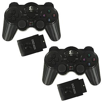 Zedlabz wireless rf double shock vibration controller for sony playstation 2 ps2 & ps1 - 2pk black
