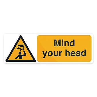 Let op uw hoofd teken-300x100mm zelfklevend