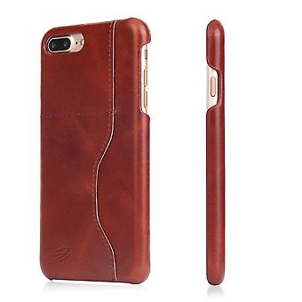 Voor iPhone 8 PLUS,7 PLUS Wallet Case, Elegant Waxed Cow Leather Cover, Donkerbruin