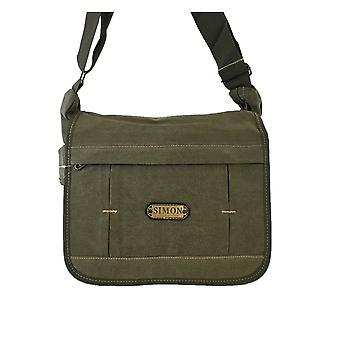 Medium størrelse skuldertaske, lærred taske-grøn