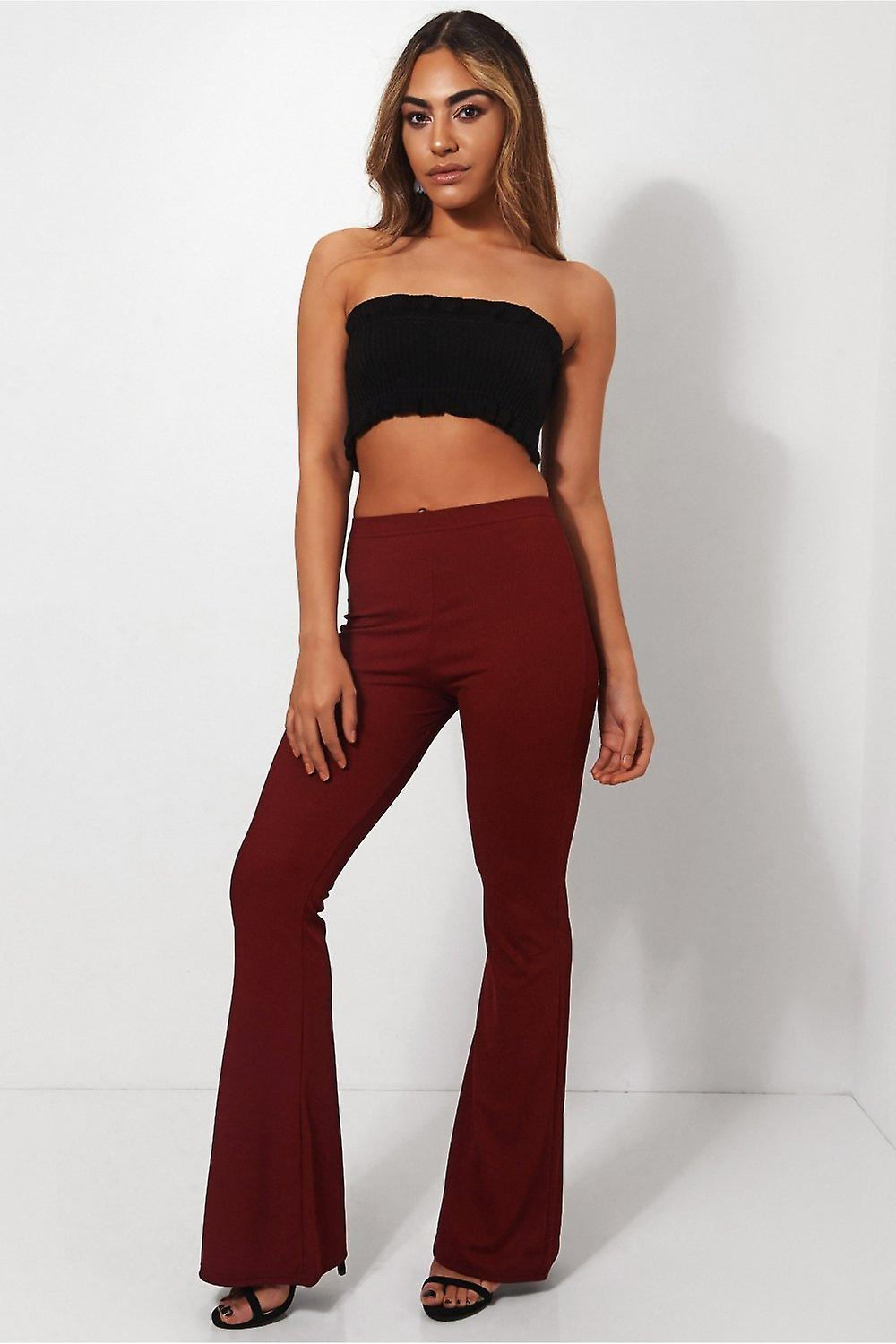 Skinny Rib Flared Trousers
