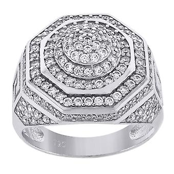 925 Sterling Silver Mens CZ Zirconia Cubic Diamond Cluster Hexagon Head Fashion Ring Band Jewely Gifts for Me