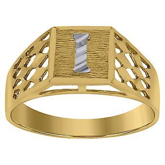 10k Two tone Gold baby voor jongens of meisjesLetter Naam Gepersonaliseerde Monogram Initial I Band Ring Measures 6.6x3.50mm Wide S