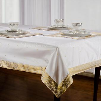 White Gold - Handmade Sari Tablecloth (India)