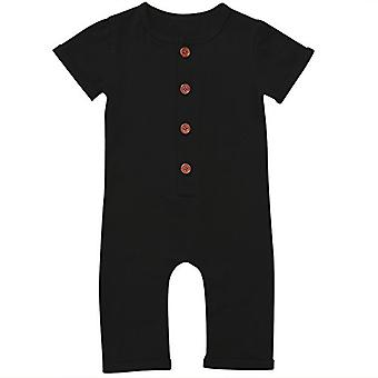 Gaono Infant Boys Black/Grey Button Up Romper Short Sleeve Basic Romper Cover...