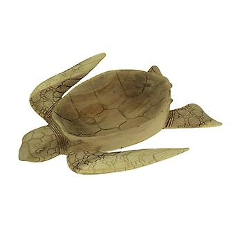 Hand Carved Mahogany Sea Turtle Centerpiece Bowl 16 Inch