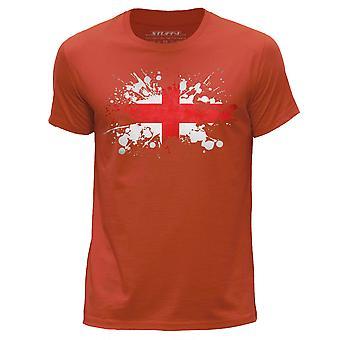STUFF4 Men's Round Neck T-Shirt/England/English Flag Splat/Orange
