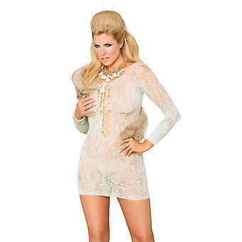 Womens Plus Size Lace Long Sleeve Lace Up Tie Front Mini Dress Lingerie