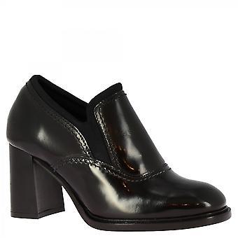Leonardo Schuhe Women's handgemachte Fersen Stiefeletten in glänzendem schwarzen Kalbsleder