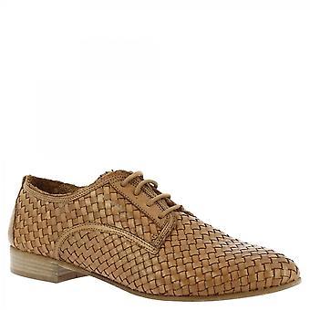 Leonardo Shoes Women-apos;s lacets faits à la main chaussures pointy sable cuir de veau tissé