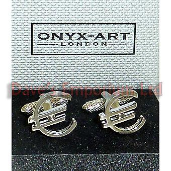 Euro Cufflinks by Onyx Art - Gift Boxed - Finance Sign Money Trader