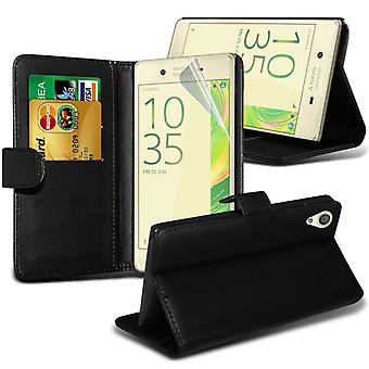i-Tronixs Sony Xperia E5 Case PU Leather Wallet Classic Flip Cover + Screen Protector Guard -Black