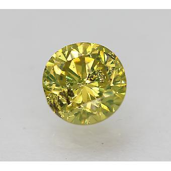 Cert 0.53 Carat Vivid Yellow SI2 Round Brilliant Enhanced Natural Diamond 4.86mm