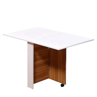 HOMCOM Folding Dining Table Writing Desk Workstation w/ Casters Teak Colour, White