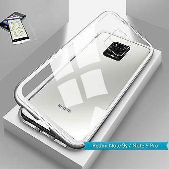 Per Xiaomi Redmi Note 9S /9 Pro Magnete / Metallo / Borsa di Vetro Custodia Argento / Trasparente - 0.26mm H9 Vetro Duro