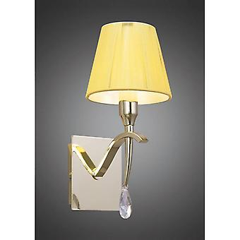 Siena Wall Light With Switch 1 Bulb E14, Polished Brass With Cream Shade And Transparent Crystal