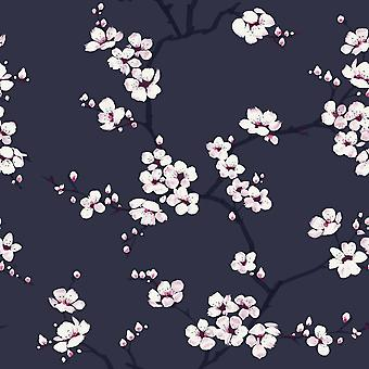 Fresco Apple Blossom Wallpaper Navy Graham and Brown 108118