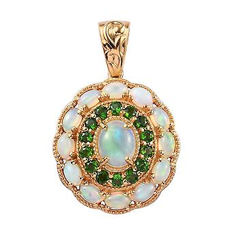 Halo Sterling Zilver 14ct Gold Plated Hanger Women Opal Diopside, 4.465 Ct TJC