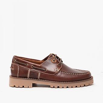 Barbour Stern Mens Chaussures de pont en cuir Acajou