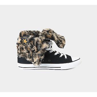 كونفيرس Ct الركبة مرحبا الفراء الأسود تقليم جونيورز 640473F الأحذية الأحذية