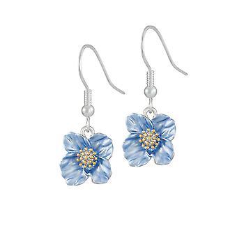 Evige Collection Blå Valmue Emalje Flower Drop Gennemboret øreringe