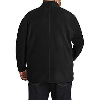 Essentials Men's chaqueta polar con cremallera completa grande y alta en forma de DXL, negro, 2X