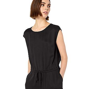 Marke - Daily Ritual Women's Tencel Short-Sleeve Jumpsuit, Schwarz, 6