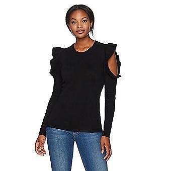 Lark & Ro Frauen's 100 % Kaschmir weiche Rüschen kalte Schulter Pullover, schwarz, groß