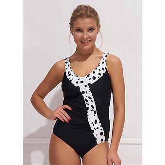 Aqua Perla Womens Costa Rica SPF50+ Black  One Piece Swimwear
