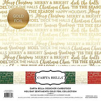 Carta Bella Holiday Sentiments 12x12 Inch Gold Foil Collection