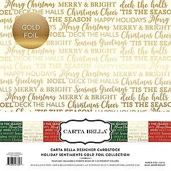 Carta Bella Holiday Sentimenten 12x12 Inch Gold Foil Collection