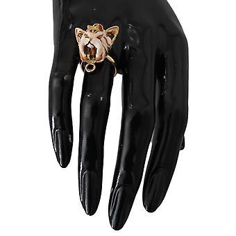 דולצ ' ה & גבאנה זהב בפליז שרף טבעת בז ' כלב מחמד--SMY5210032