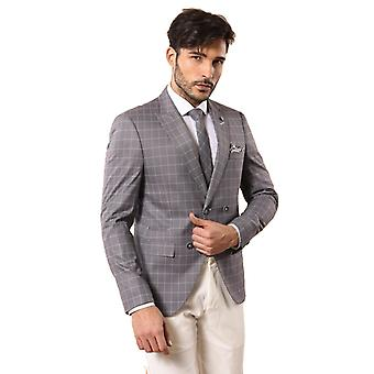 Grey men's suit with checked blazer   wessi