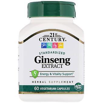 21st Century, Extrait de ginseng, Standardisé, 60 Capsule végétarienne