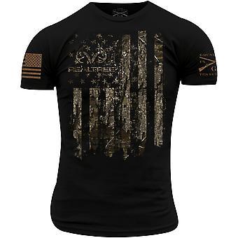 نخر نمط ريالتري الأخشاب - الأمريكية هانتسمان العلم تي شيرت - أسود